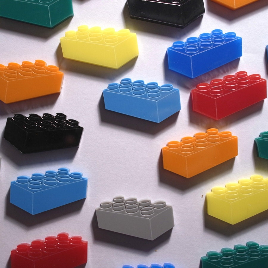 LEGO blocks -Laser cut acrylic brooch