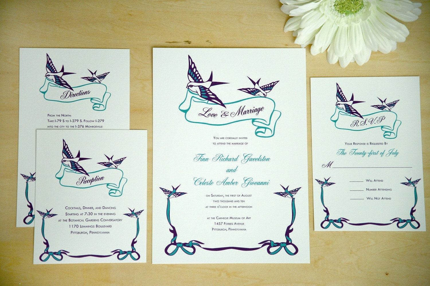 Birds Wedding Invitations in Grape and Caribbean