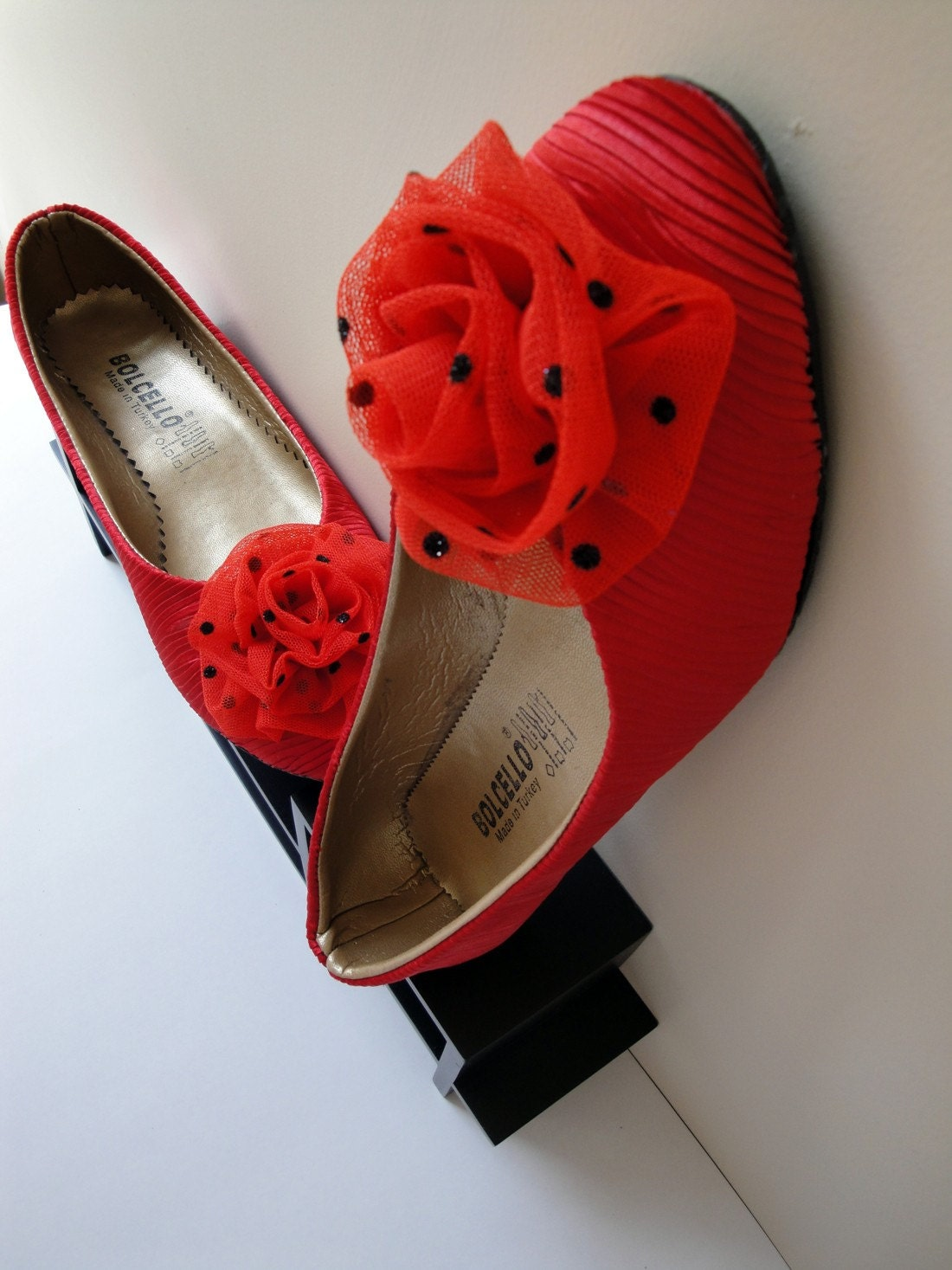 Red Folded Satin Flat Shoes Embellished with Red Tulle Black Dots Flower (10) by cheerfulrosette