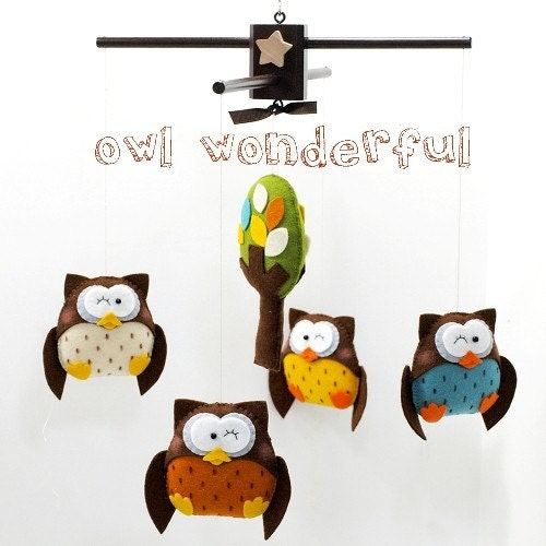 READY TO SHIP NOW OWLS WONDEFUL with LEAFY TREE MOBILE premium design - Upgrade Priority Shipping