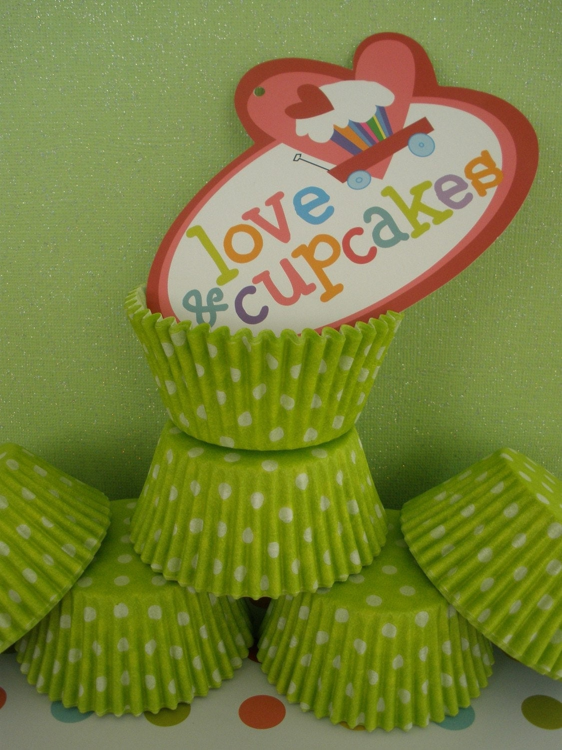 50 Green w/white Dots CupCake Liners