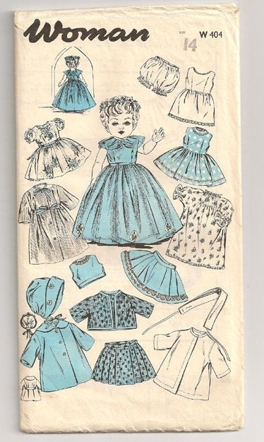 vintage doll clothes pattern 14 inch doll by