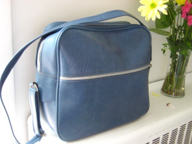 Blue Faux Leather Travel Bag