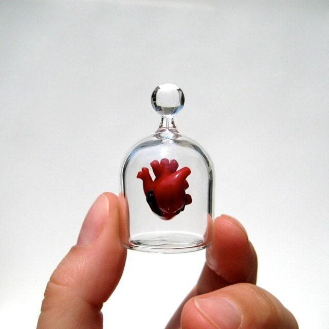 Heart in a Jar, Hand Blown Glass Miniature, Anatomically Correct Heart