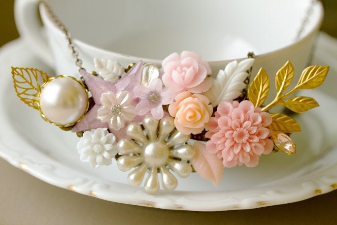 Pink Dahlia Vintage Collage Necklace