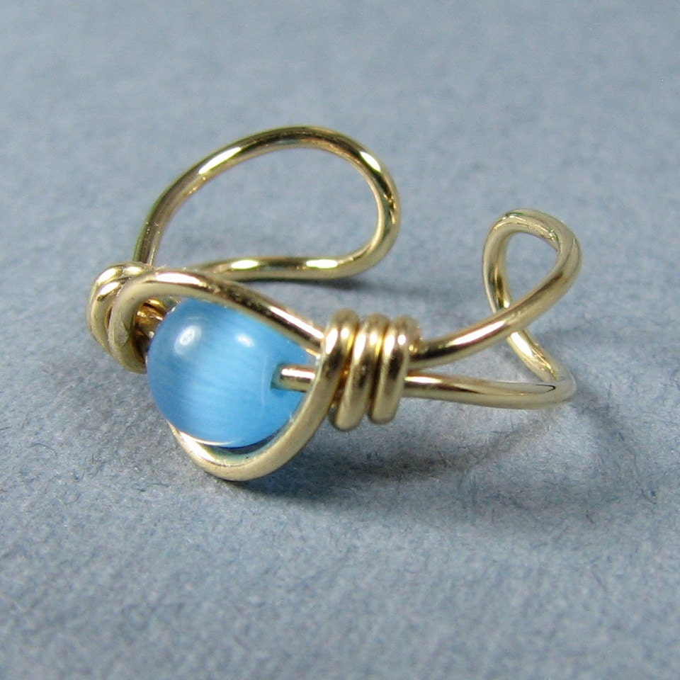 14k Gold Filled Ear Cuff Sky Blue Cats Eye