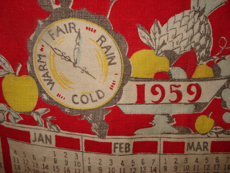 Vintage Calender Dish Towel 1959
