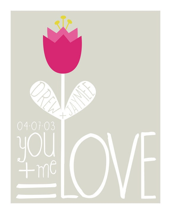 Love Equation Personalized Anniversary Art Print - Custom Colors - 8 x 10