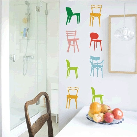 Chair set wall sticker, decal by itstics