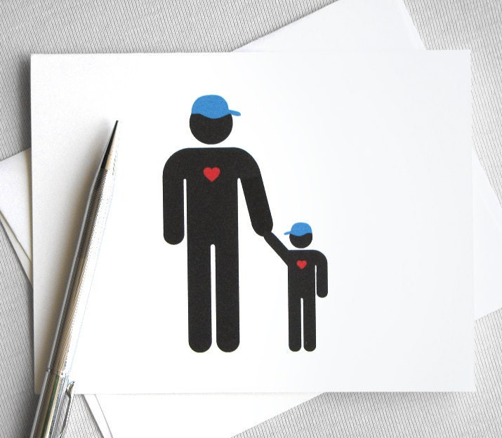 Daddy's Little Guy - Father and Son Father's Day greeting card (w/ envelope) FREE SHIPPING