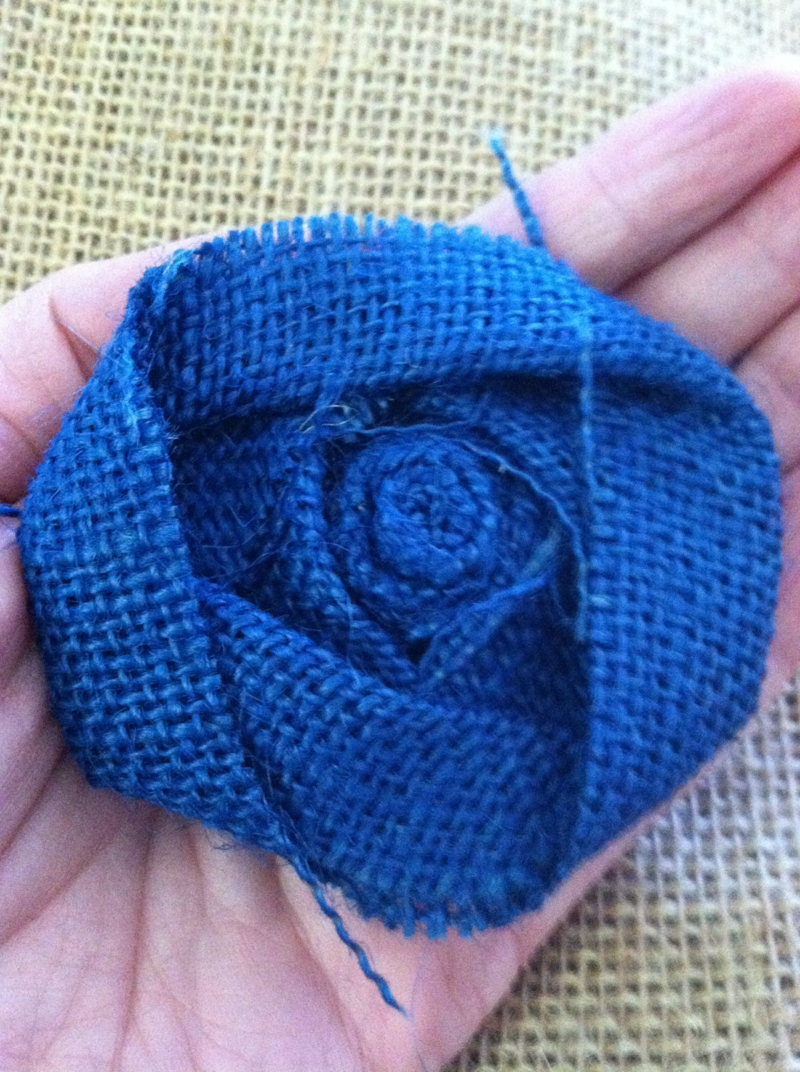 Blue Burlap Flower Rosette Shabby Chic Wedding Decor Home Decor Royal Blue Navy Blue