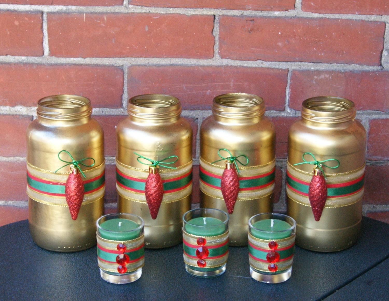 Votive Candle Holder / Christmas Wedding Decor / Bling Wedding Decor / Sweet Heart Table / Vase / Gold / Red Glitter / Red Rhinestone /  7 - CarolesWeddingWhimsy
