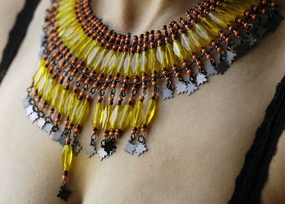 Yellow, Pale Yellow  Crystal Choker, Necklace - Egypt Style - Brown, Orange, Yellow,Gift for Her Mom ,EXPRESS DELIVERY