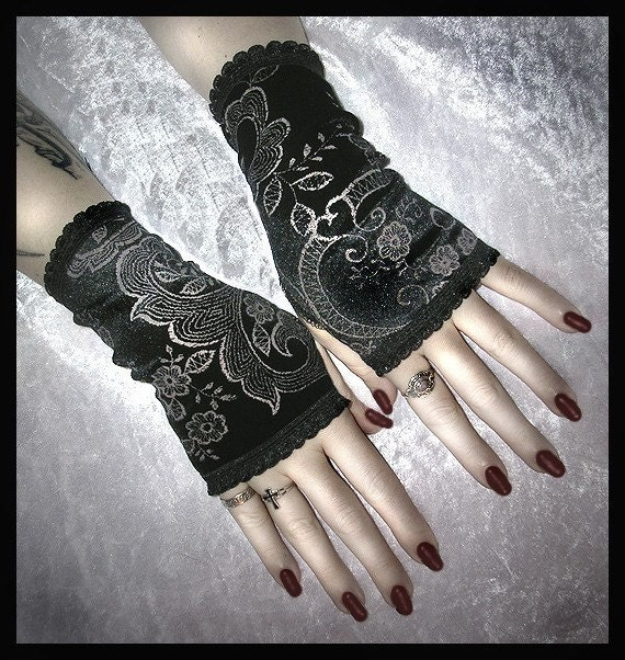 Shes In Parties Fingerless Gloves Arm Warmers in Elegant Black Velvet with Silver Scroll and Flower Detail for EGL, Kuro Lolita, Vampire, Gothic, Steampunk, Victorian, Bohemian, ATS Style