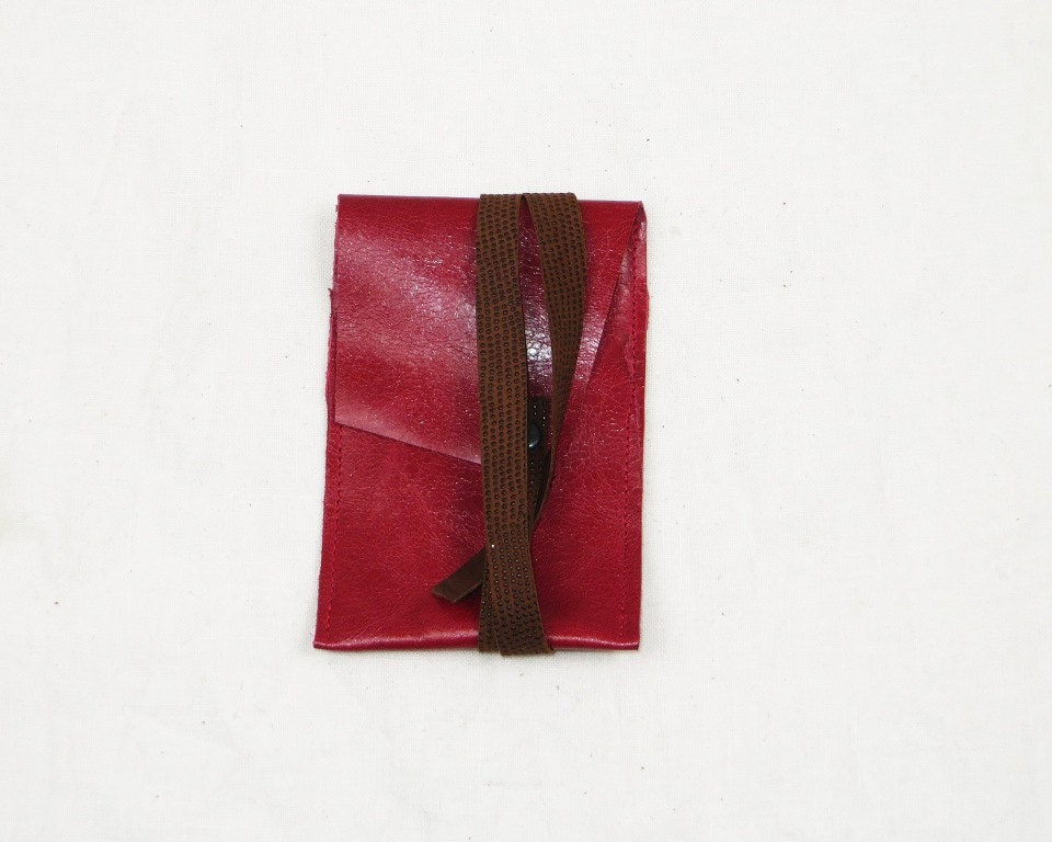 Slim minimalist  iPod Touch sleeve in glazed finish raspberry red leather