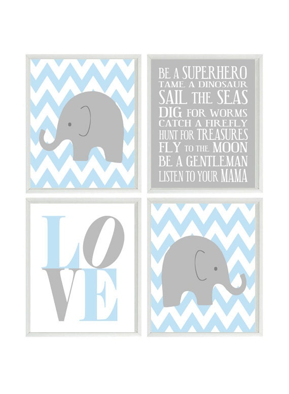Nursery art elephant chevron baby boy nursery by rizzleandrugee - Wall decor for baby boy ...