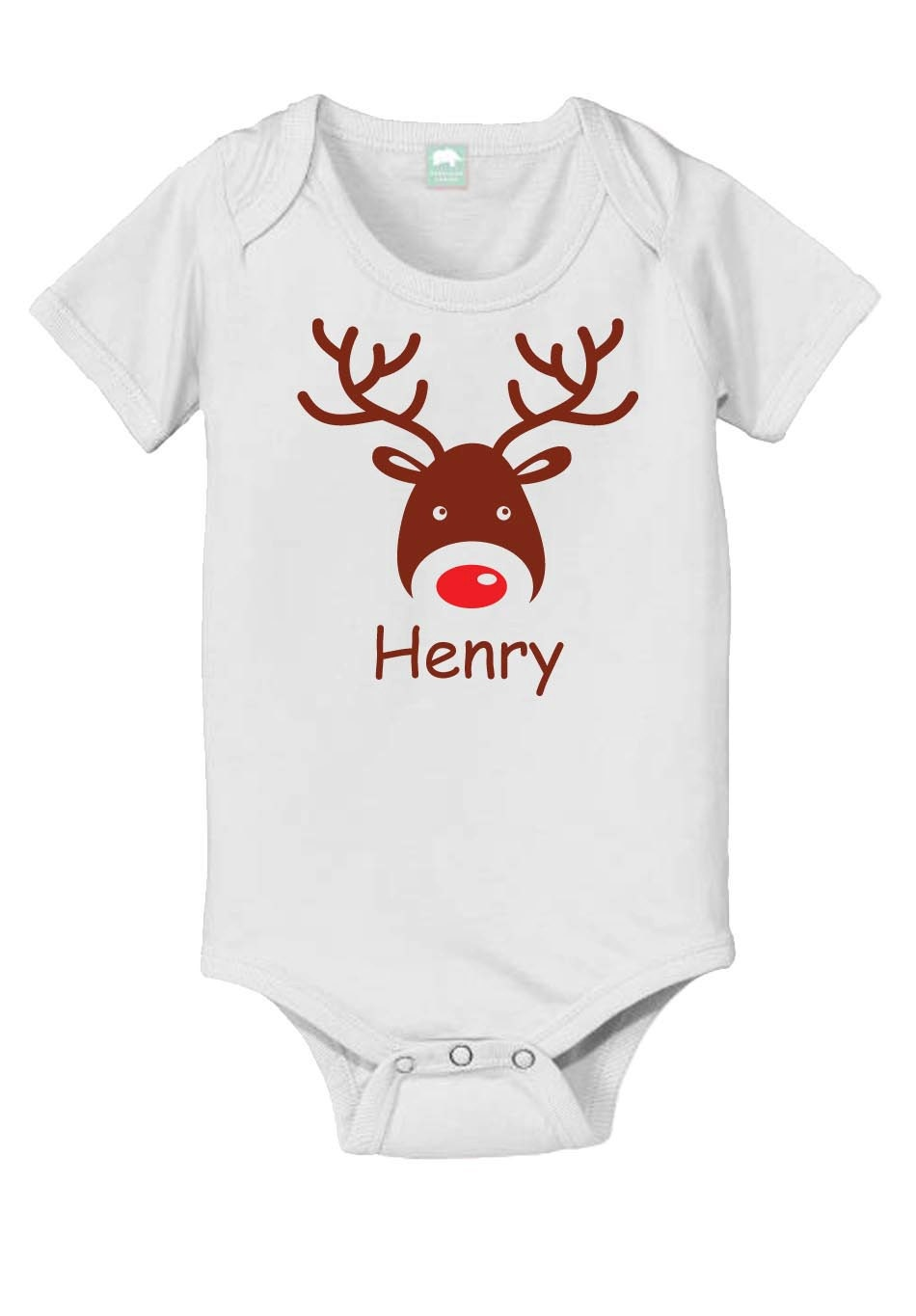 Items similar to Personalized reindeer baby onesie ...