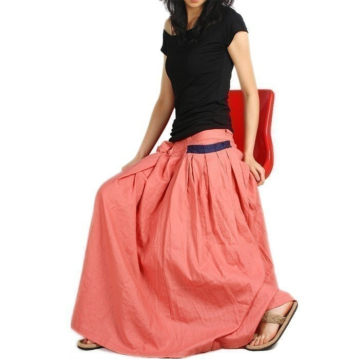 RED POCKET LONG SKIRT IN PEACH less is more