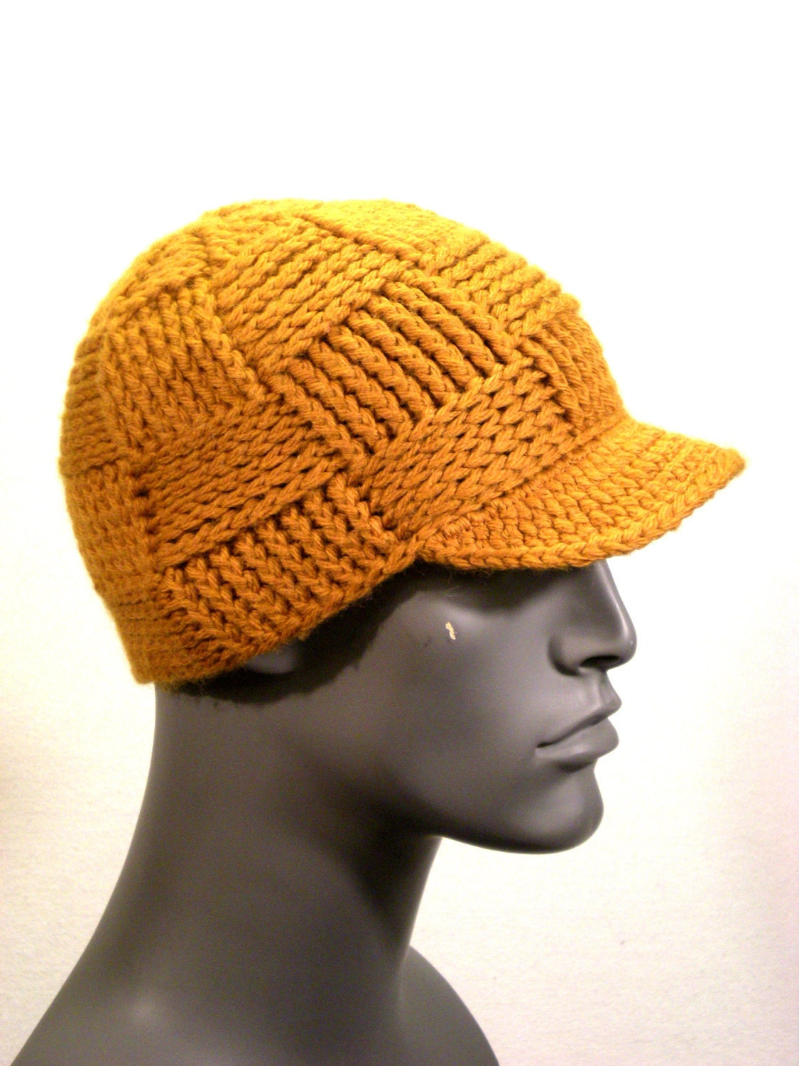 SALE - The Weaver Beanie with Bill - Medium - Wool - Wheat Color