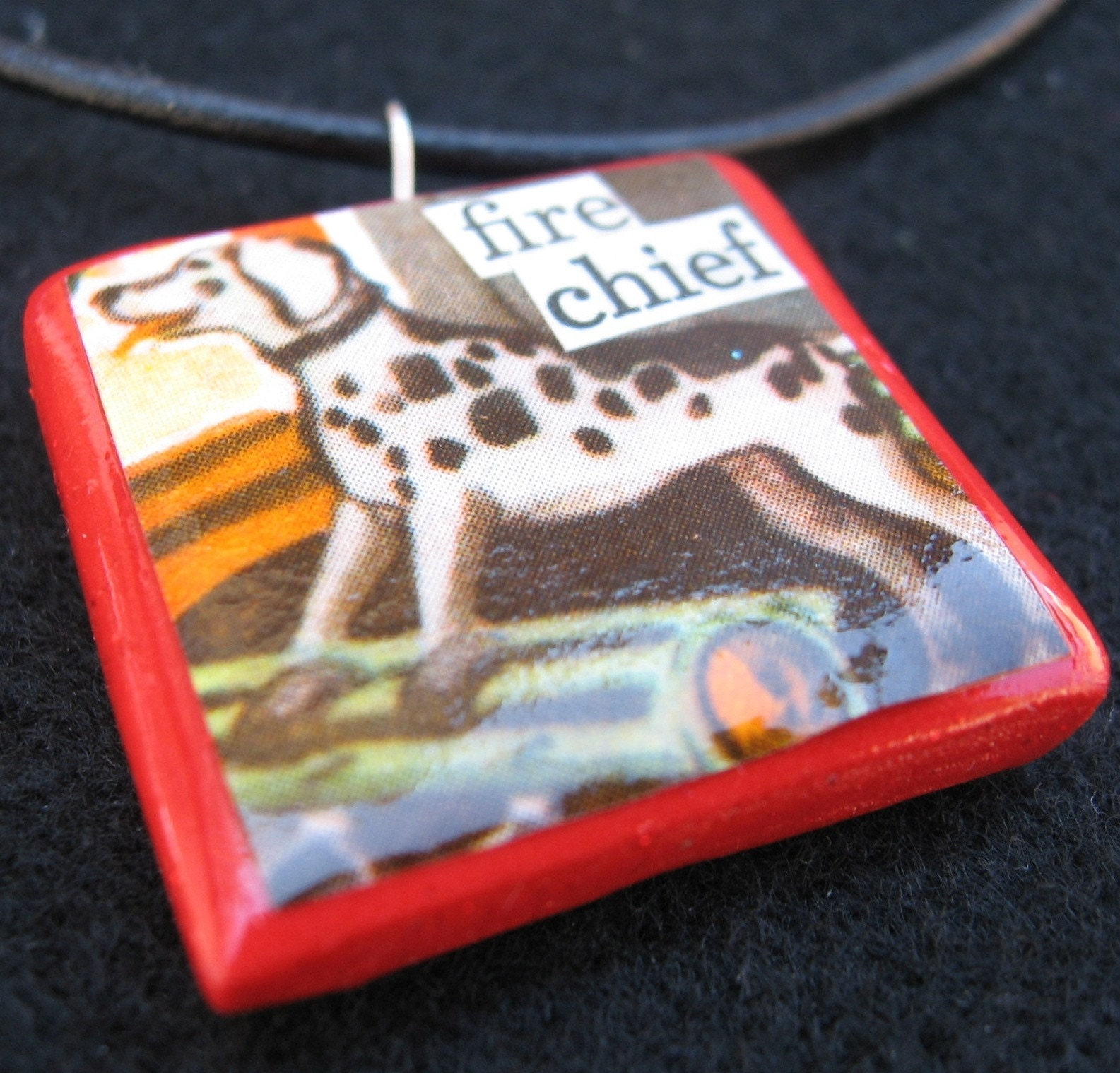 Fire Chief Dalmatian dog pendant (on leather cord)