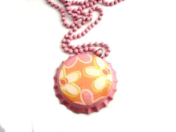 Mod Flowers -- fun bottle cap necklace on pink chain