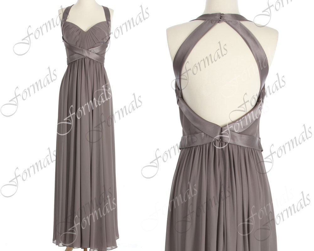 Straps Sweetheart Long Chiffon Gray Bridesmaid Dresses, Gray Prom Dresses, Wedding party Dresses