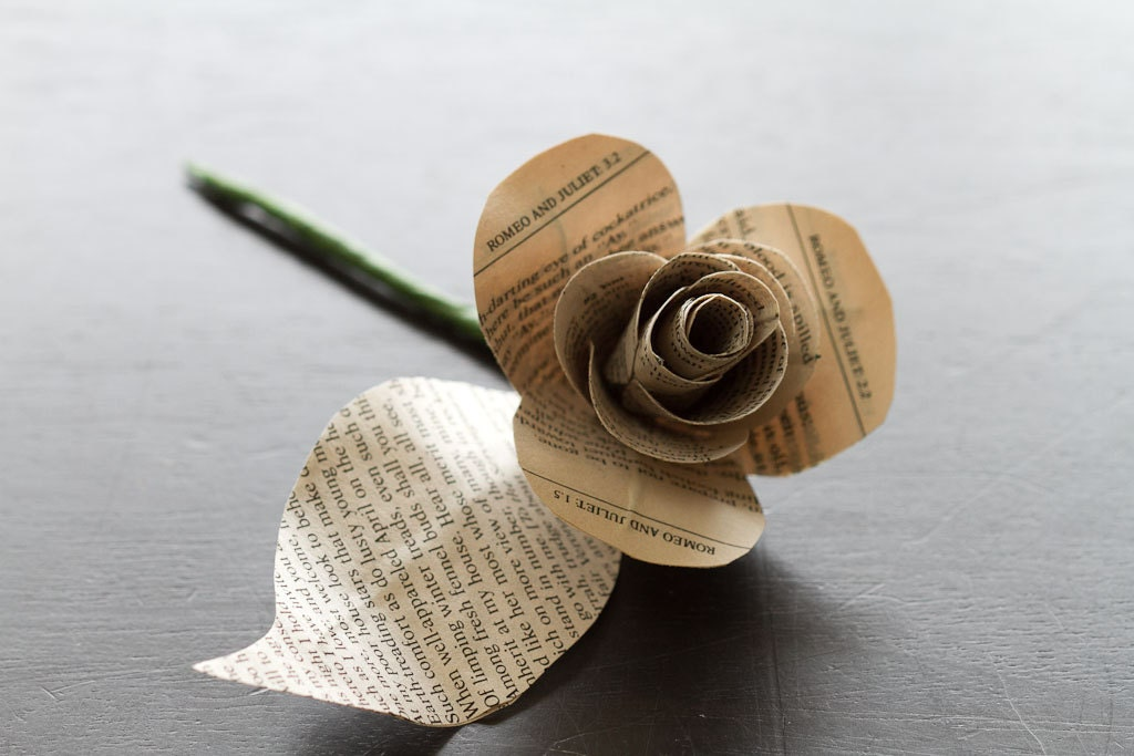 Paper Roses- Made from Vintage Shakespeare