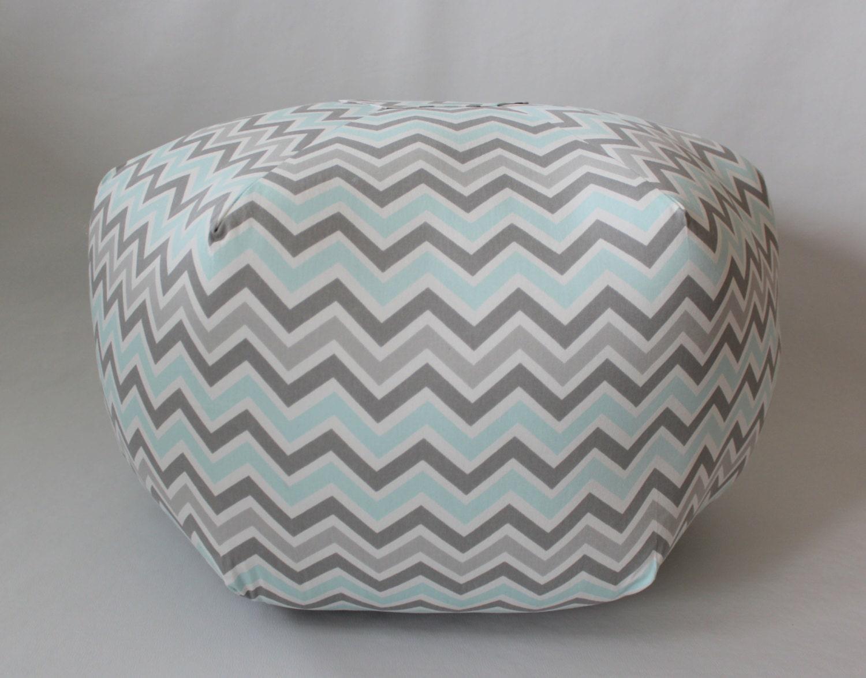 "24"" Pouf Ottoman Floor Pillow Zoom Zoom Grey Mist Blue - aletafae"