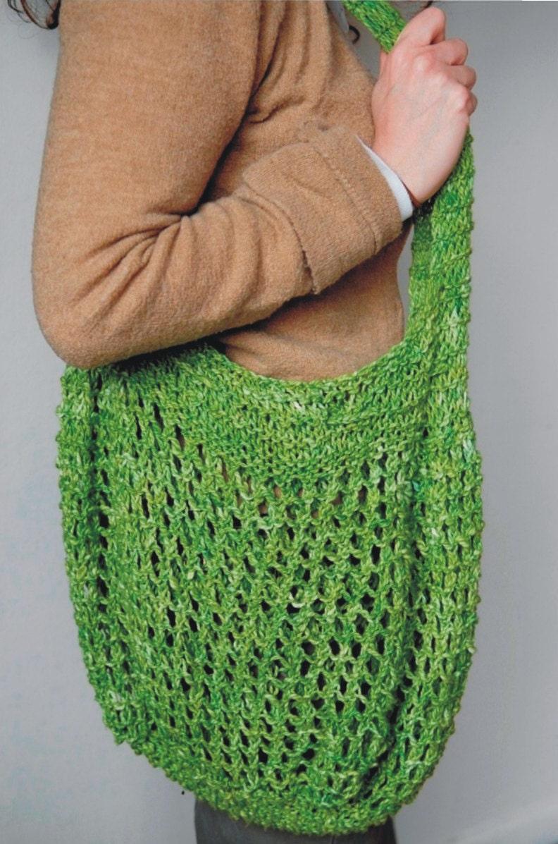 Knit Market Bag Pattern : Cotton Market Bag Knitting Pattern PDF by woodstocknits on Etsy