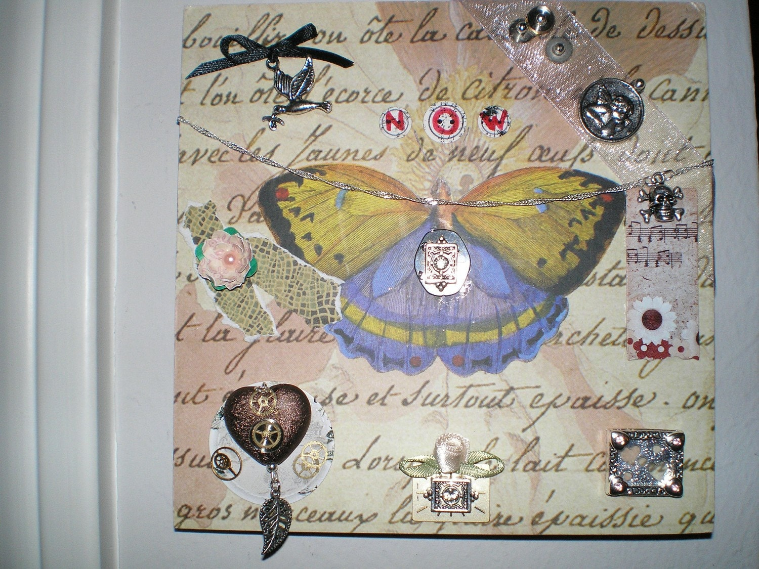 She Dreams of Flight 3 - Part 3 in my 4-part series of OOAK Signed Altered Art Collage Mixed Media Plaques with Jewelry Butterflies Dragonflies Skulls Paper Flowers Heart Watch Parts Chains
