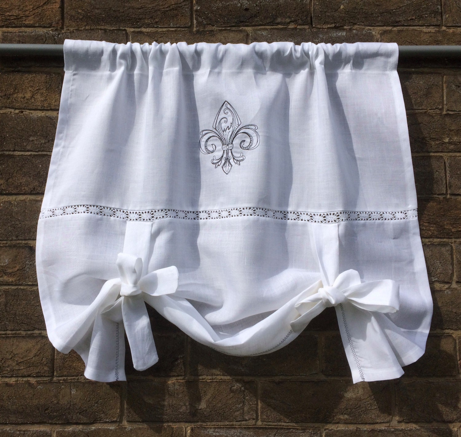 Personalized bedroom Window Valance Optical White Linen Tie Up Shade Monogram Vintage French Fleur de Lis privacy bathroom curtain