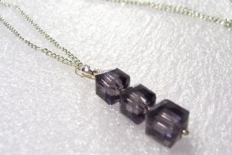 Classic Purple Three Cubed Necklace