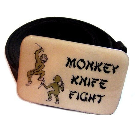 Monkey Knife Fight Belt Buckle