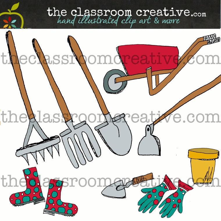 Items similar to garden tools clip art instant download for Gardening tools clipart