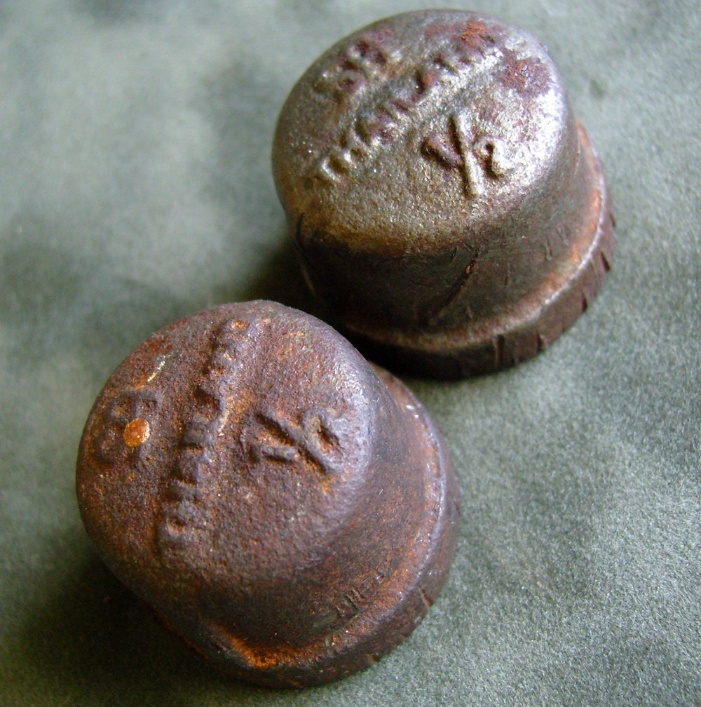 Vintage cast iron pipe end caps by fancifulanne on etsy