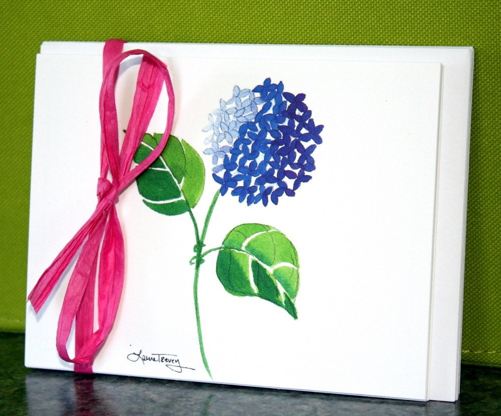 Pink, Green, and Blue Hydrangea Note Cards