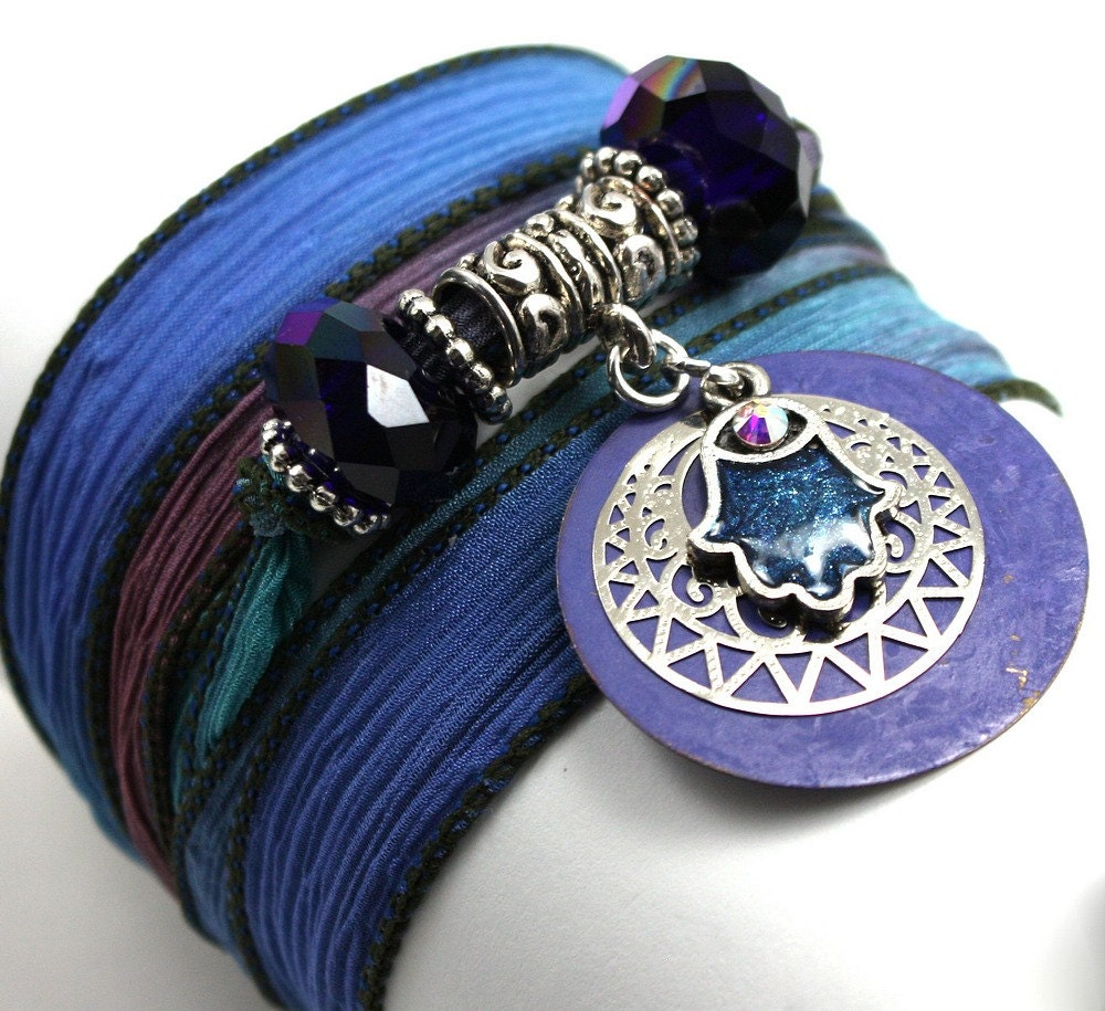 Hand Dyed Silk Wrap Bracelet-Persian with Periwinkle Patina Disc, Enameled Hamsa, and Indigo Crystals - anjalicreations
