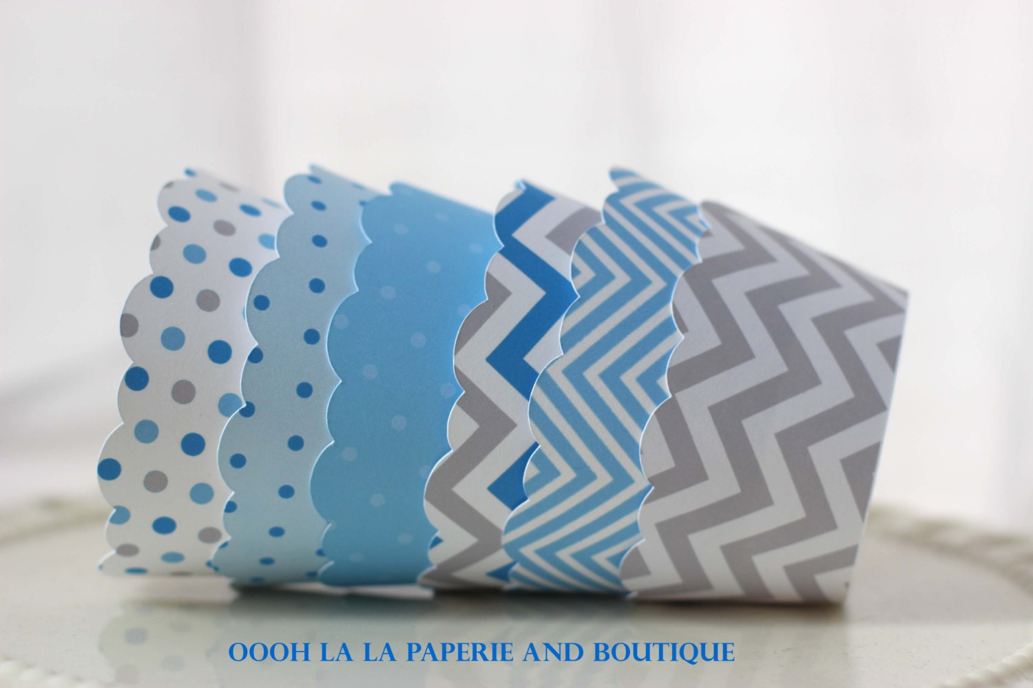 Blue Sky on a Rainy Day Cupcake Wrappers- Set of 12 - ooohlalapaperie