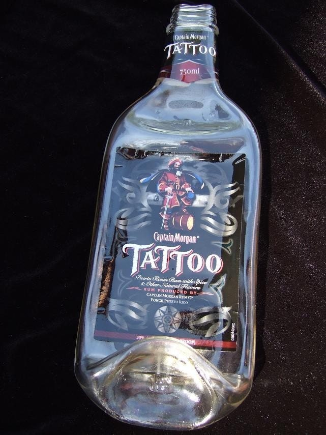 CAPTAIN MORGAN TATTOO Fused Melted Bottle Spoon Rest. From HeartJCreations