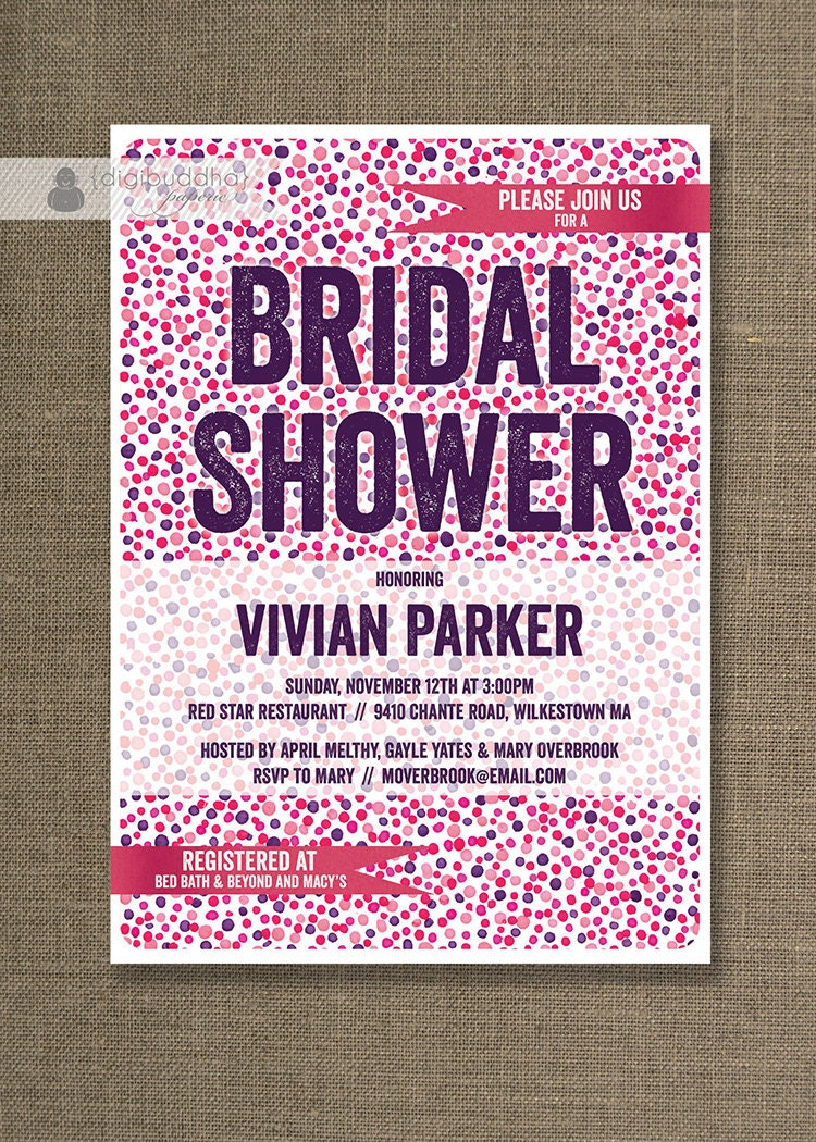 Confetti Dots Bridal Shower Invitation Modern Pink Purple Red Shabby Chic Wedding Invite Bold Printable Digital or Printed - Vivian Style
