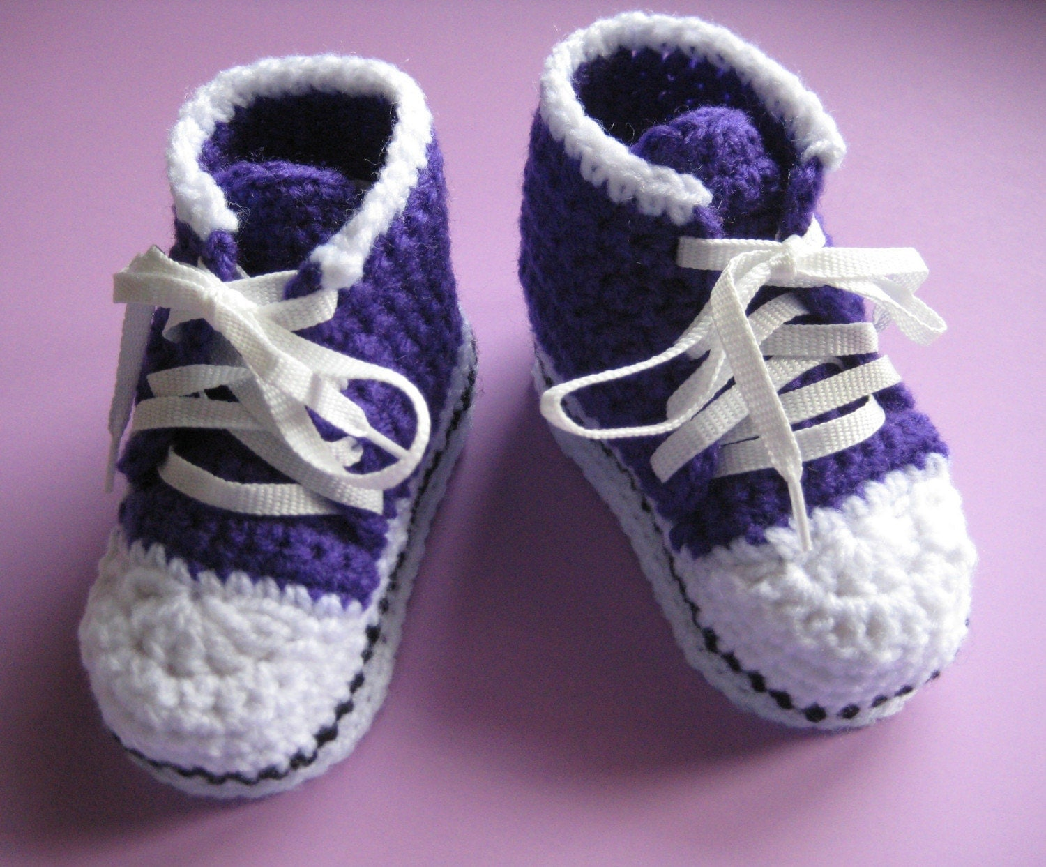 Crochet High Top Booties Free Pattern : Crochet High Top Sneaker Baby Booties Slippers Size by buyhand