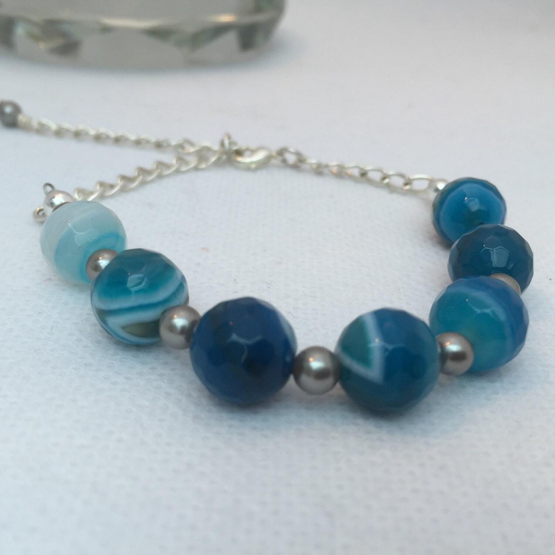 Blue agate  silver shell pearl bracelet agate bracelet gemstone bracelet gift for her christmas present gemstone jewellery