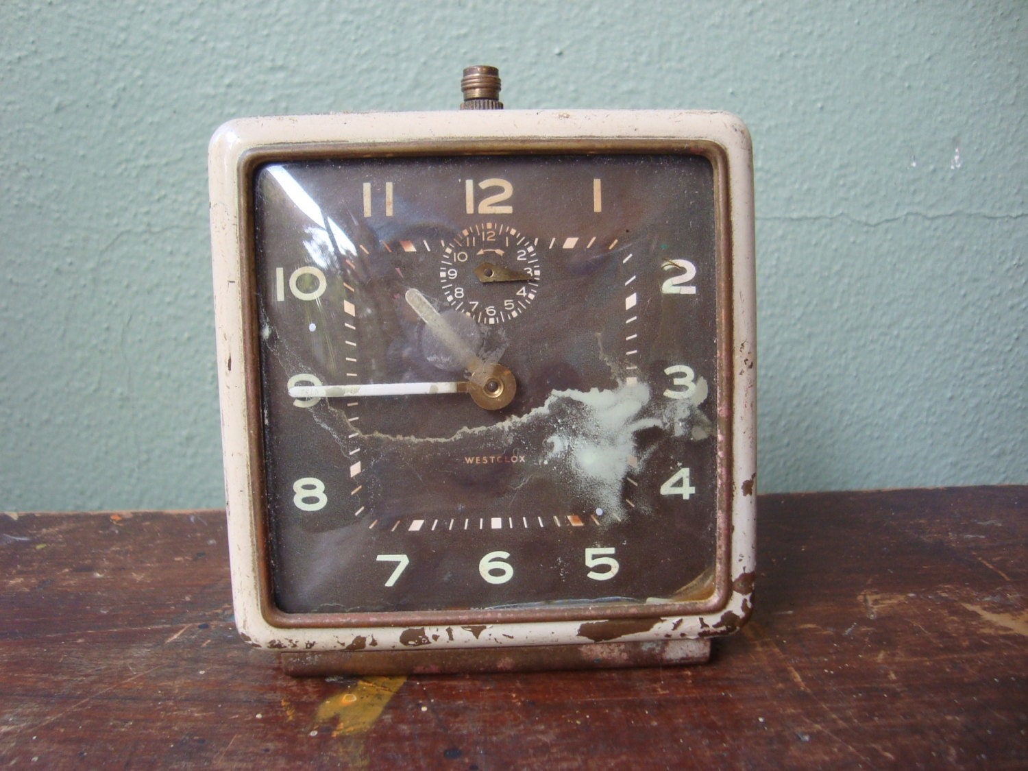 Beautiful Patinaed Vintage Clock for Home Decor or Found Art Supply Gold and White - FoundInFlorida