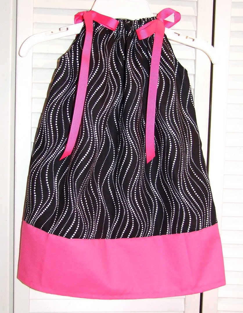 Black White Hot Pink Dots Waves Pilloawcase Dress- READY TO SHIP size 2T/24 months
