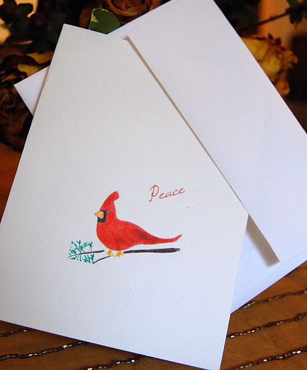 Red Cardinal Bird Peace Greeting Note Card by HappenstancePaper on Etsy