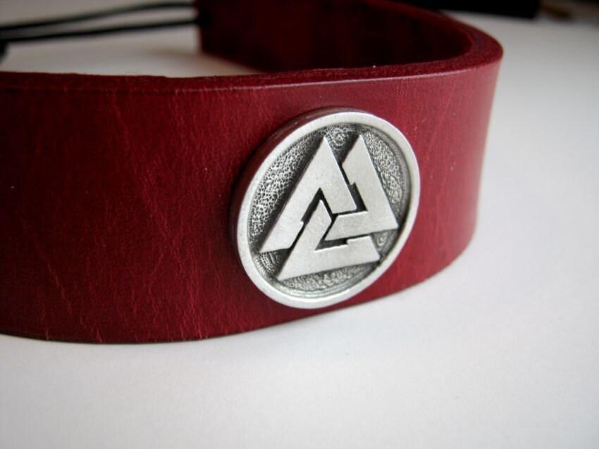 Valknut Red Leather Headband Norse Viking SCA Fantasy Headband Medieval Crown Barbarian Headband - BirchCreekLeather