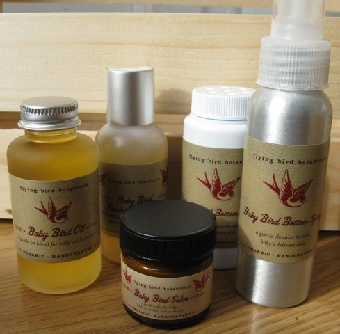 baby bird starter kit with our new baby bird bottom powder...natural, organic skin care for baby - flyingbirdbotanicals