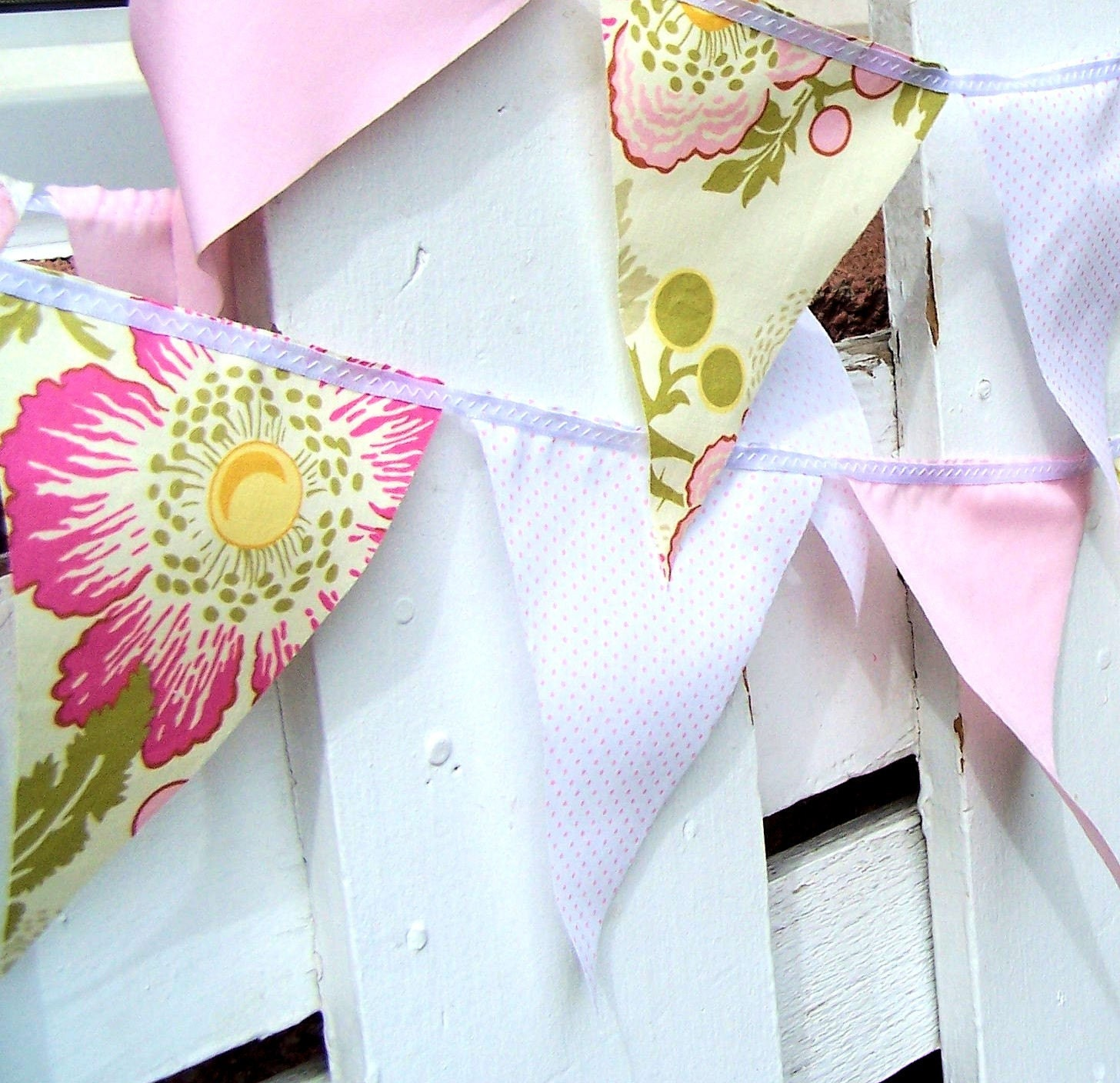 Spring Pink, Green and White Flower Party Bunting 9 Feet