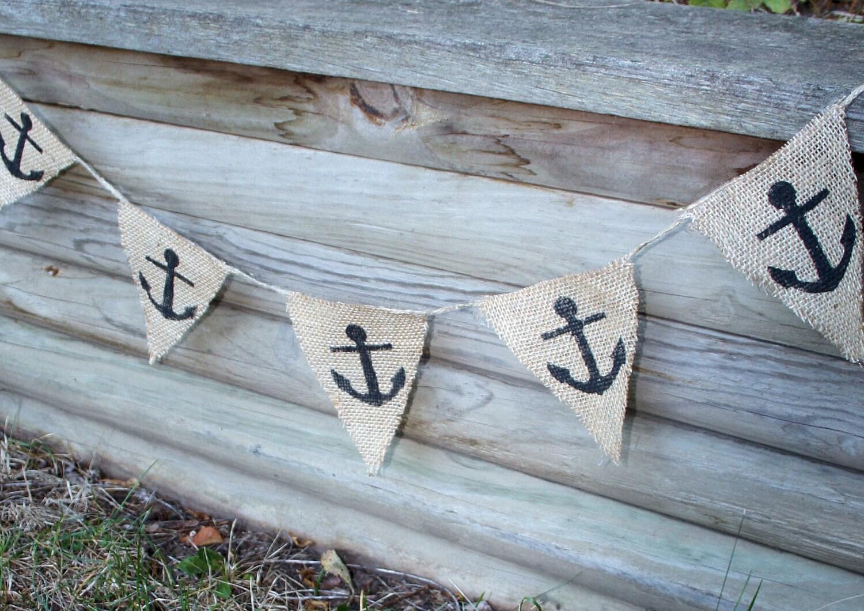 Nautical Anchor Burlap Banner
