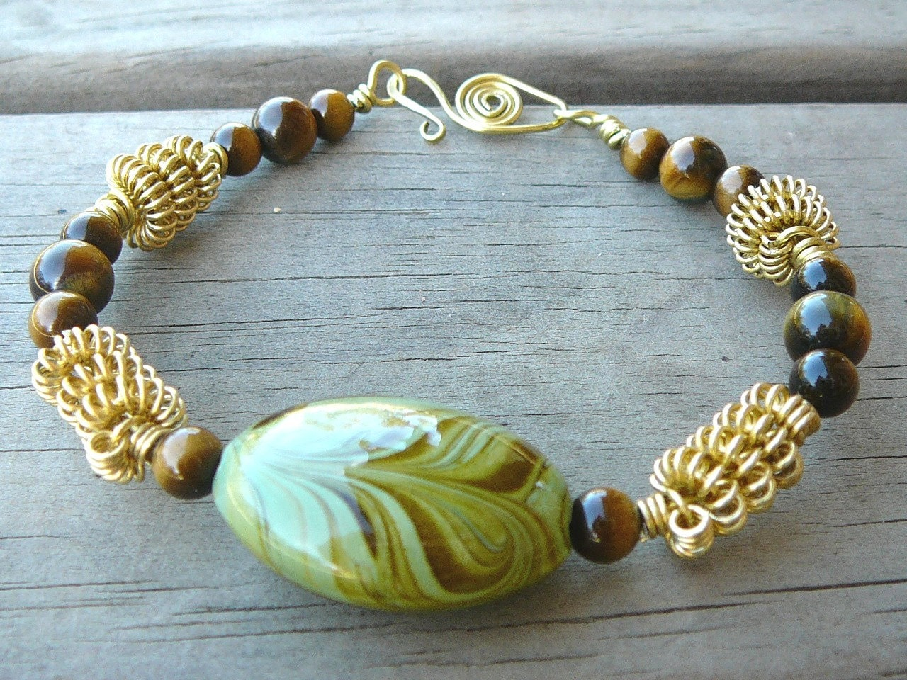 Earthy Brass And Terracotta Bracelet